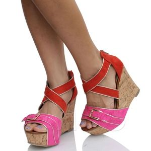 Orange Pink Strappy Cork Platform Wedge Sandal
